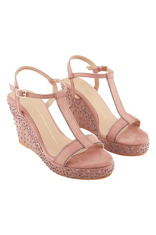 Blush pink genuine leather sole hand embroidered wedges