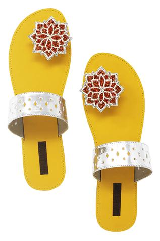 Yellow & silver paduka sandals