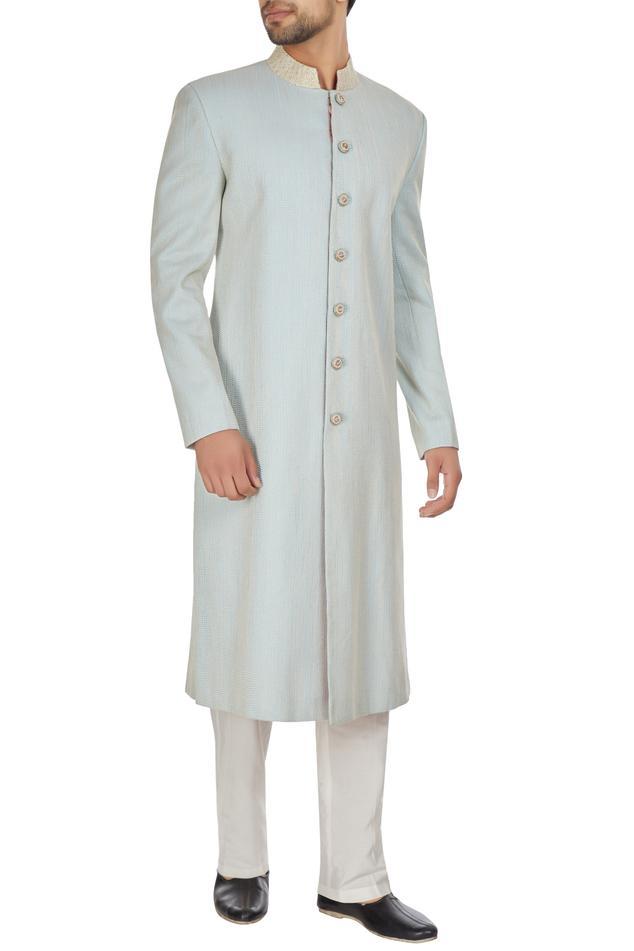 Powder blue spun silk sherwani with embroidered buttons & pants