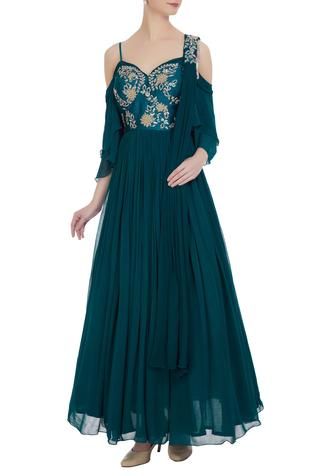 Cold-shoulder corset pleated anarkali with cancan underlayer