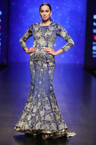 Blue silk bead & sequin embroidered mermaid gown with long trail