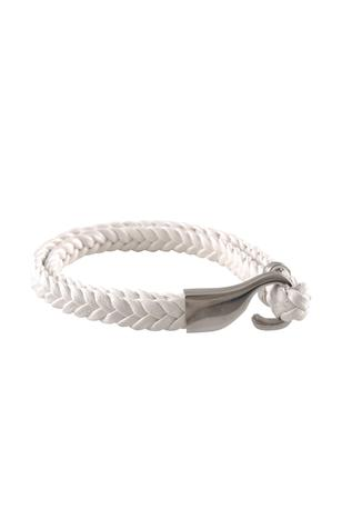 White brass braided leatherette wristband