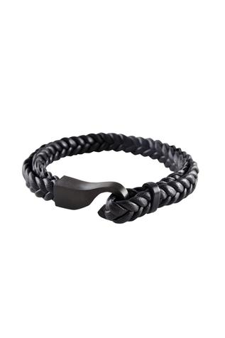 Black brass braided leatherette wristband