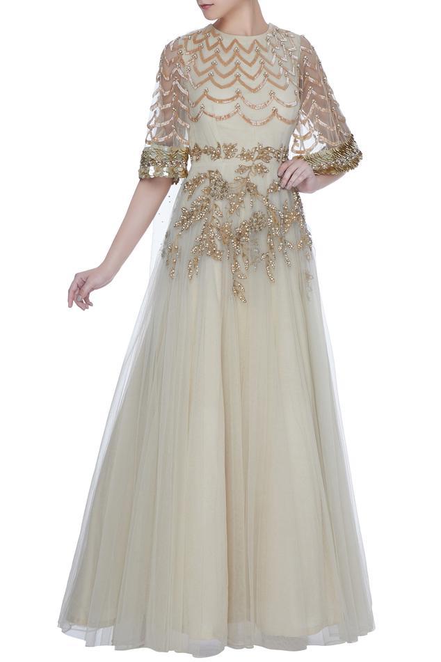 Ivory pearl & bead embellished net anarkali gown