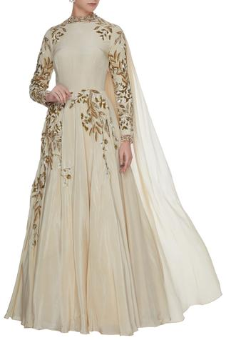 Ivory crepe silk anarkali gown with cutwork detailing