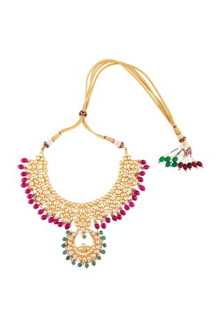 Kundan earrings with pink & green beads