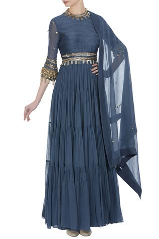 Tiered style pearl & sequin anarkali