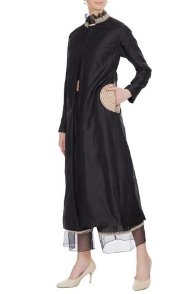Black spun silk crop top & palazzos with raw silk front open jacket