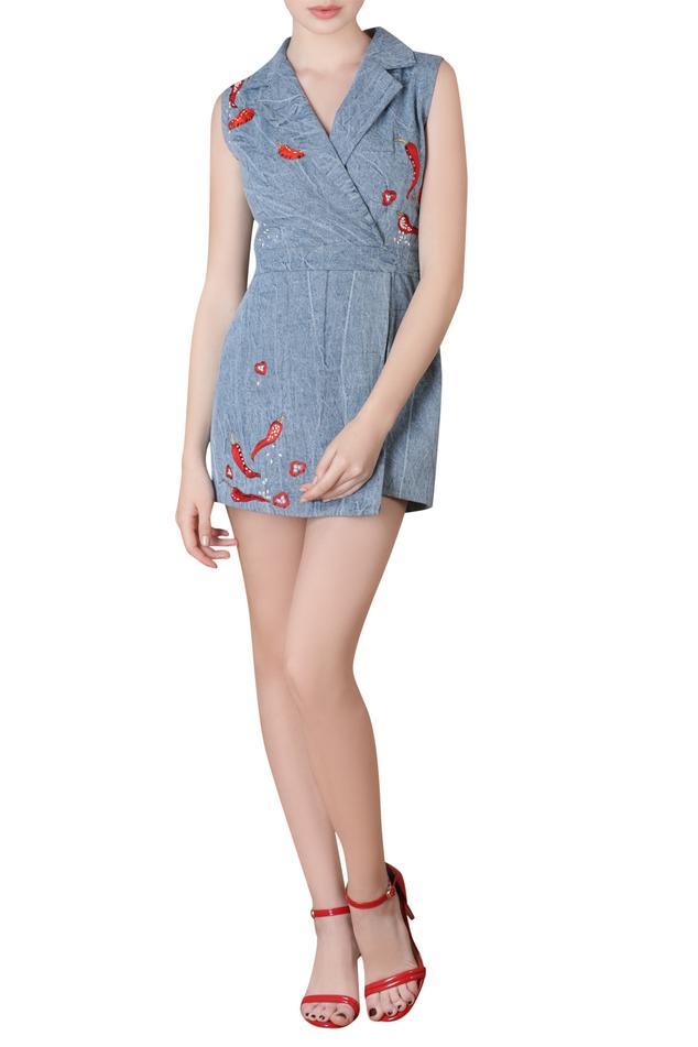 Applique detail denim jumpsuit