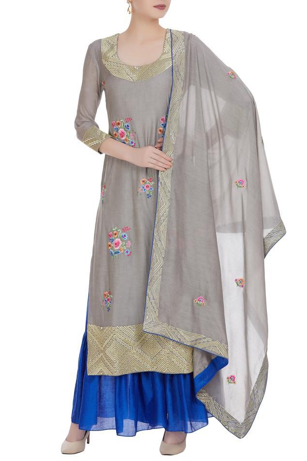 Zari embroidered kurta with tiered sharara pants and dupatta.