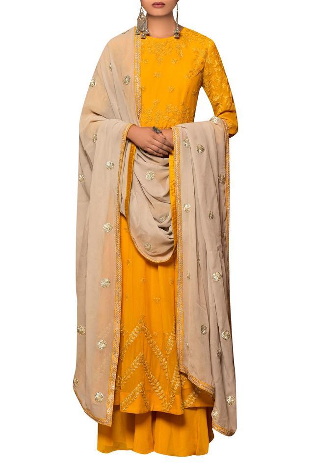 Mustard yellow & pastel grey georgette machine & hand embroidered kalidar kurta with gharara & beige dupatta