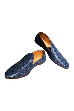 Blue non-leather woven handcrafted loafer