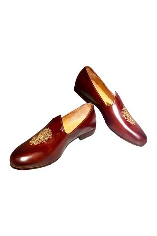 Burnt brown pure leather loafers