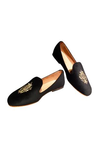 Black velvet handcrafted loafers