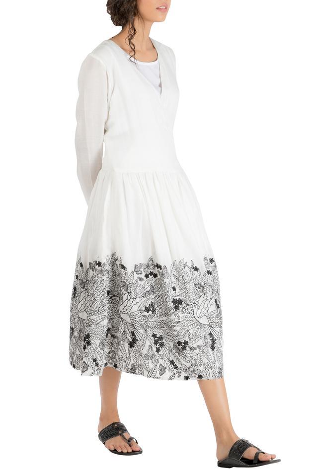Ivory cotton gathered wrap style dress