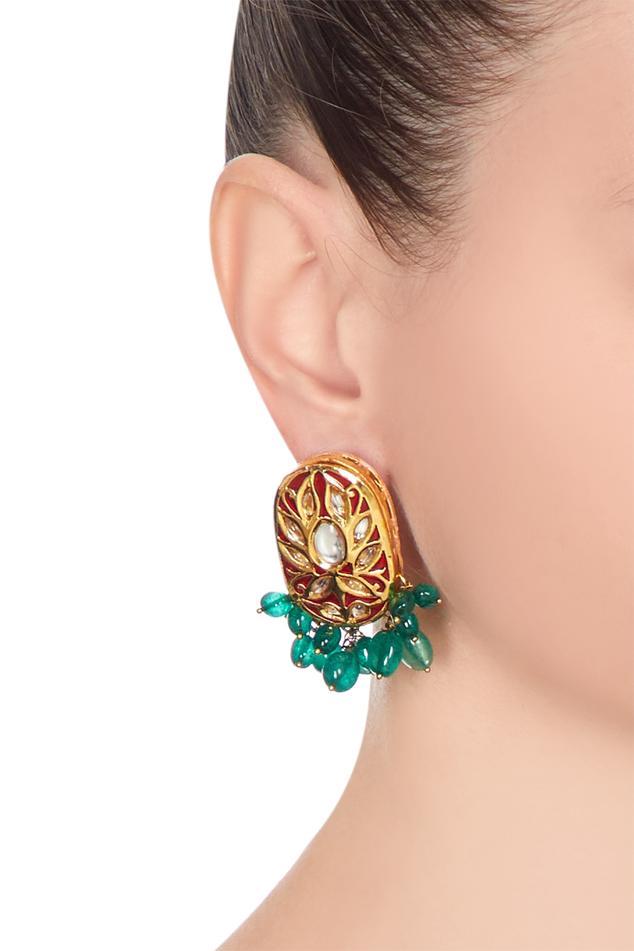 Meena work dangling earrings