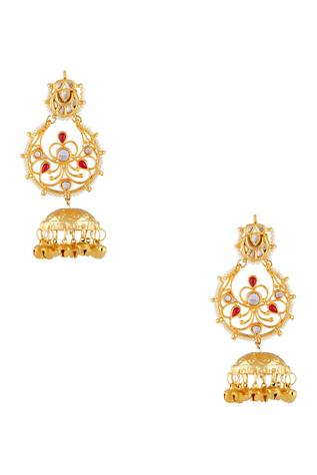 Gold plated pearl dangling jhumka earrings