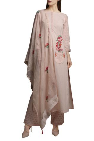 Pearl pink cotton embroidered short kurta with block printed pants & dupatta
