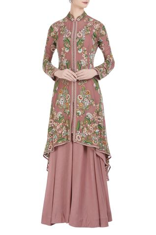 Chiffon floral hand embroidered jacket and skirt set