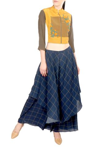 Yellow zipper style top with flap trousers