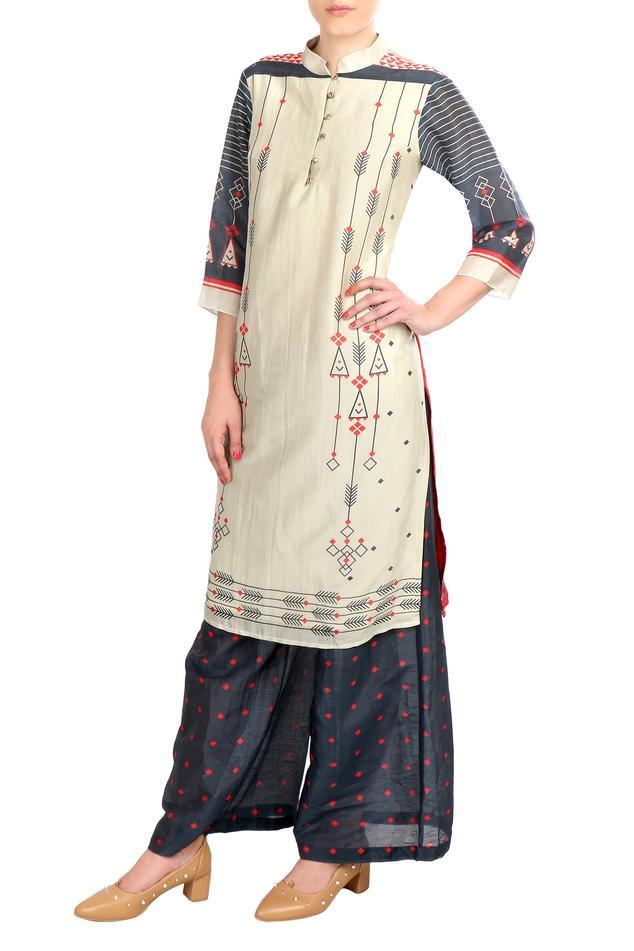 Chanderi printed kurta with palazzo pants