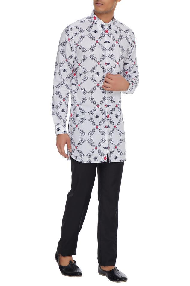 White nilgiri printed long sleeve kurta shirt