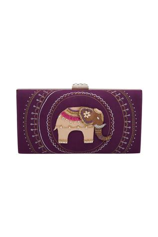 Mauve butterfly bead hand-embroidered elephant box clutch
