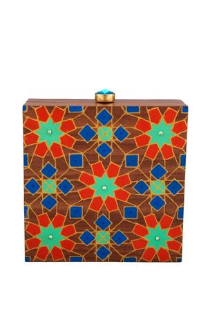 Brown hand painted wooden box clutch