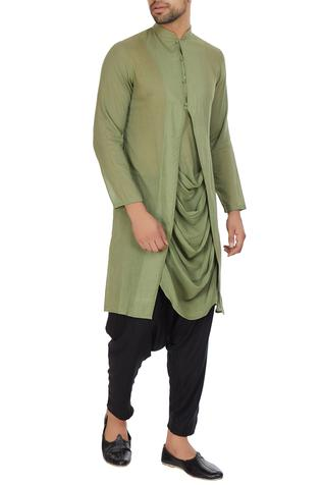 Green mulmul cowl pleated layer kurta