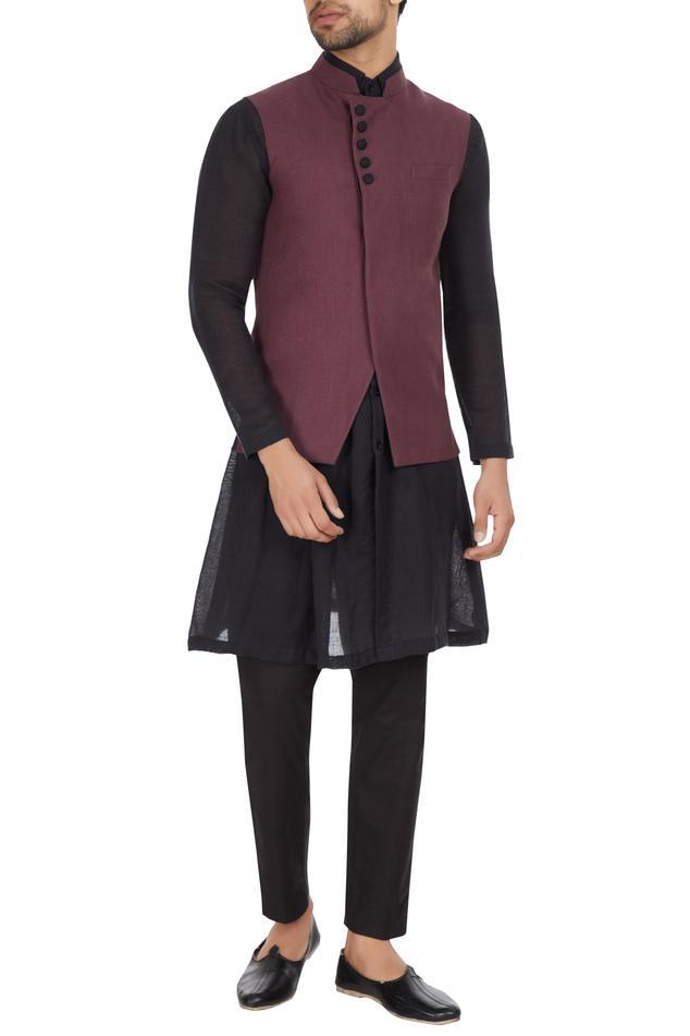 Dark purple linen asymmetric jacket
