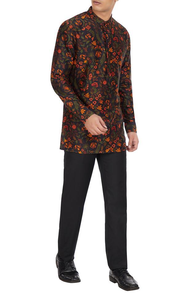 Multicolored floral printed long sleeve chanderi silk short kurta