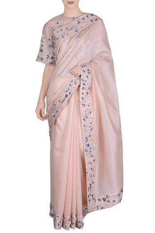 Chanderi Silk Embroidered Saree with Blouse