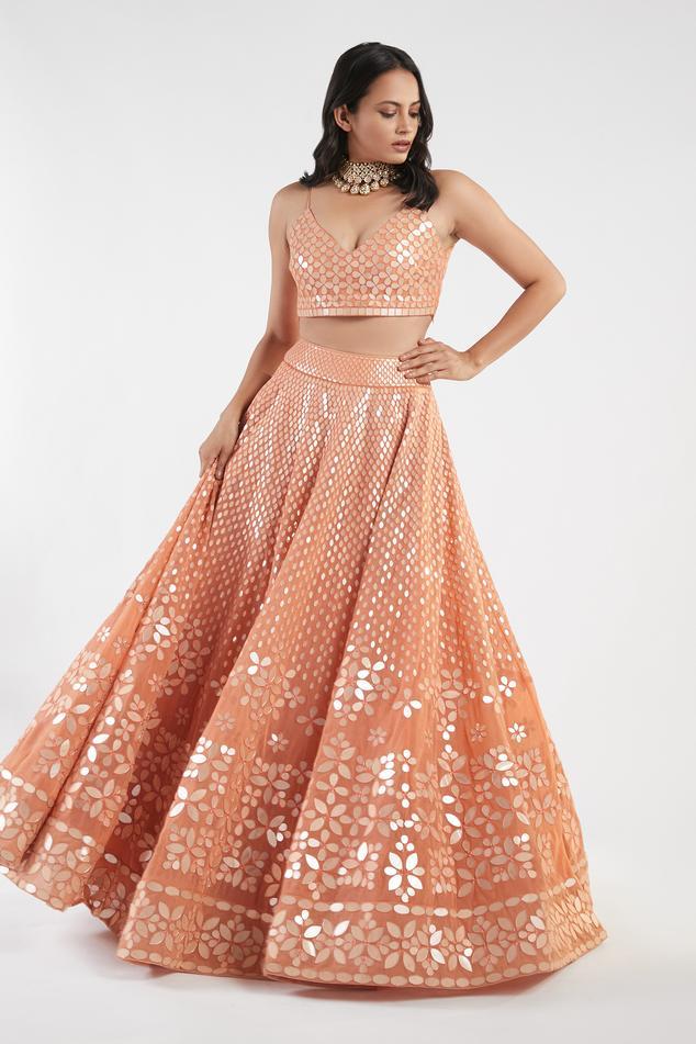 Embellished Blouse & Lehenga Set