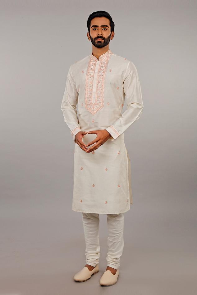 Embroidered Silk Kurta Set