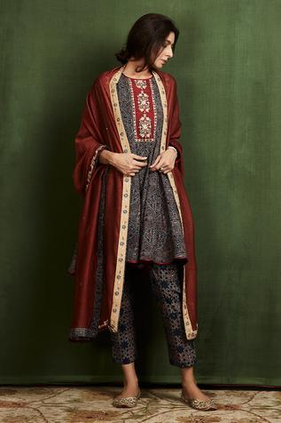 Ajrakh Print Anarkali Set