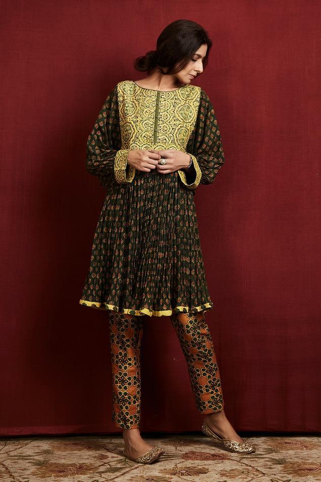 Silk Ajrakh Print Anarkali & Pant Set