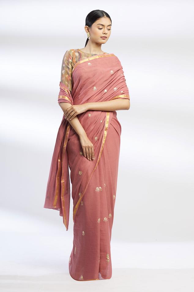 Pitta Work Saree with Running Blouse Fabric