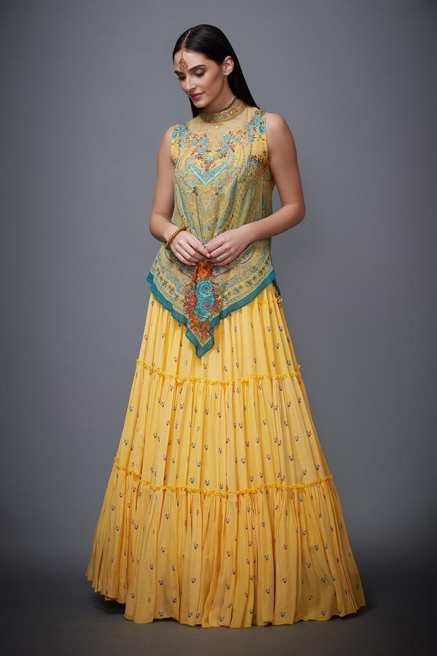 Silk Printed Top & Skirt Set