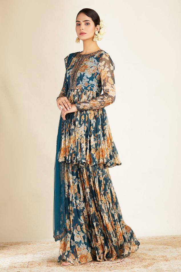 Floral Print Kurta Sharara Set