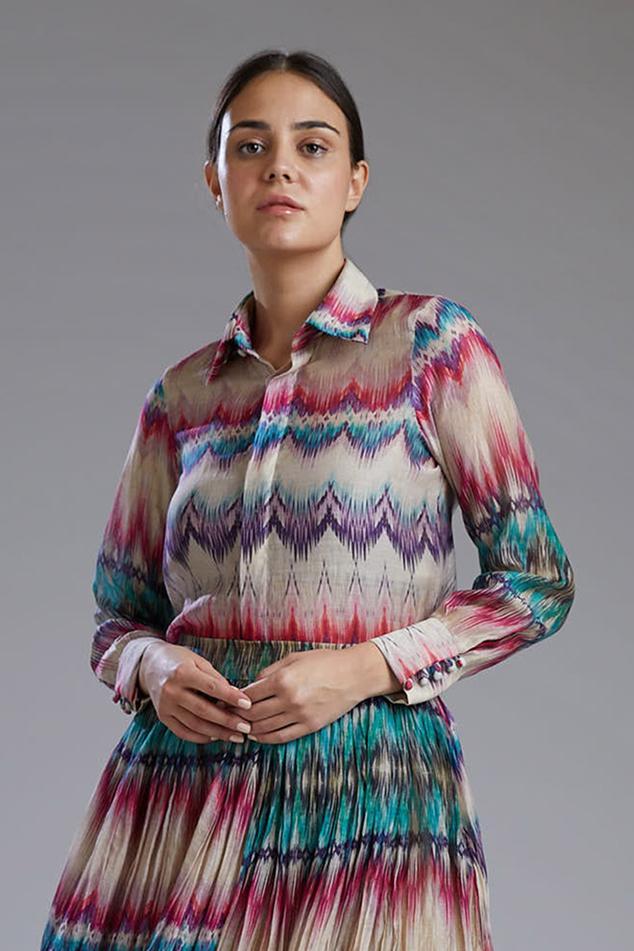 Printed Chanderi Silk Shirt
