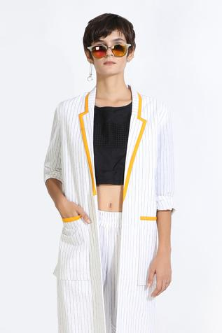 Striped Cotton Linen Jacket & Pant Set