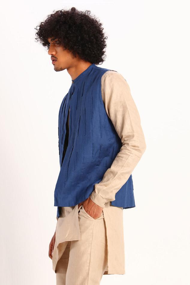 Linen Panelled Bundi