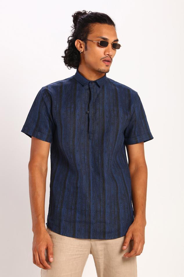 Linen Printed Polo Shirt