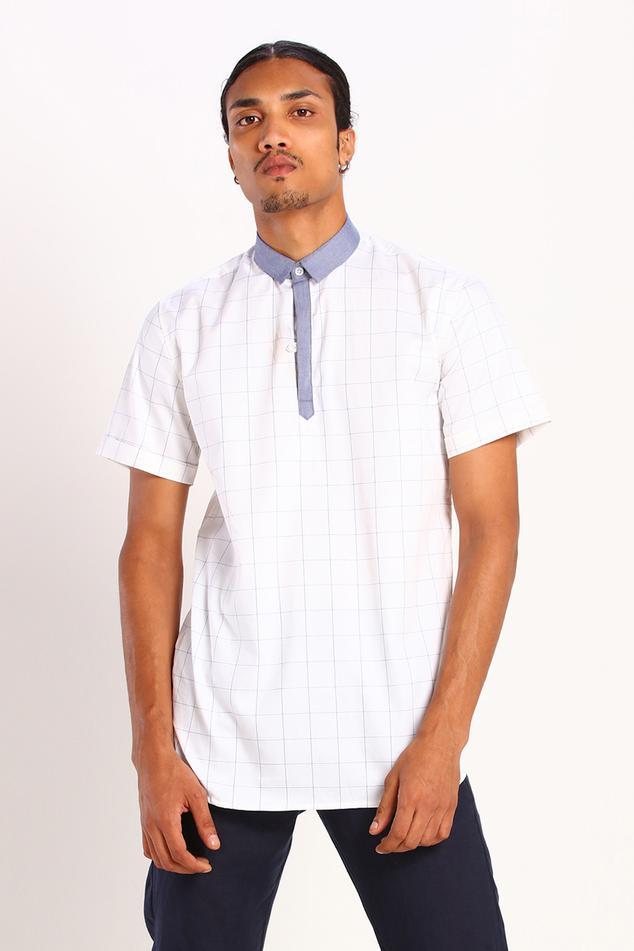Linen Cotton Checkered Polo Shirt