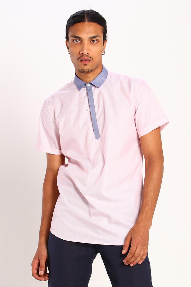 Linen Cotton Striped Polo Shirt
