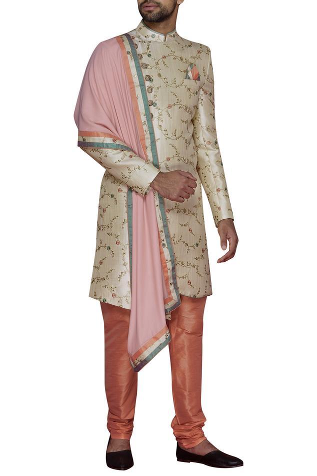 Embroidered sherwani set & stole