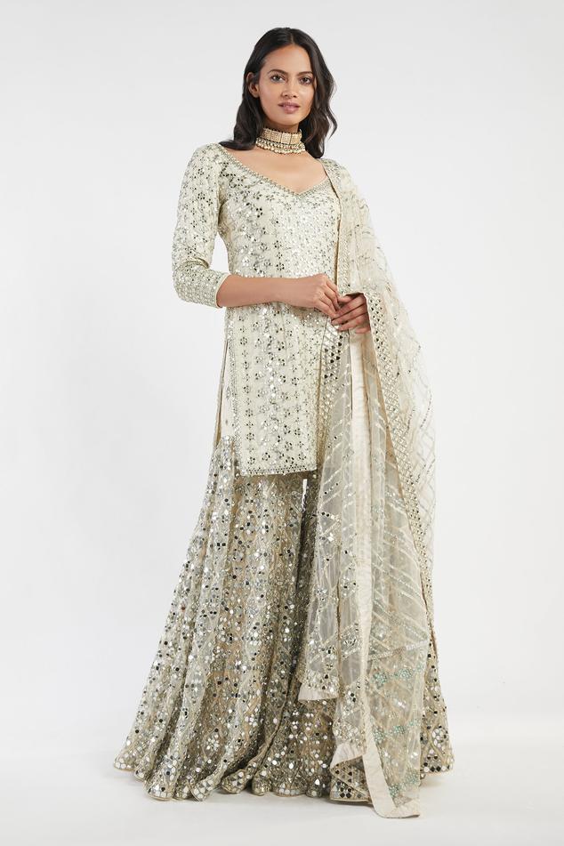 Mirror Embellished Kurta Sharara Set