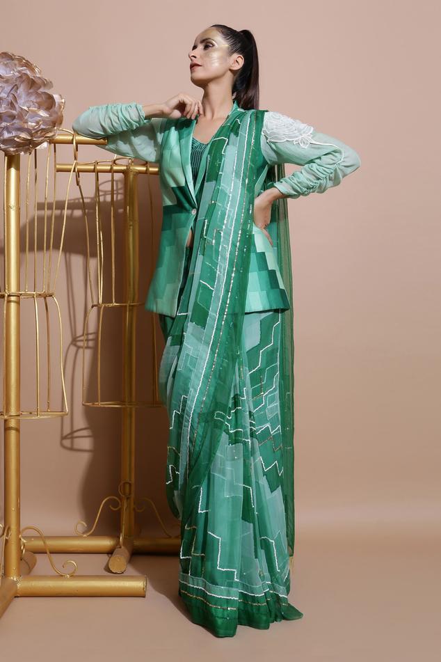Printed Saree & Jacket Set
