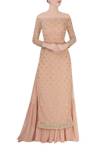 Peach kurta set with glitter embroidery