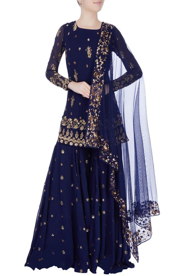 Navy blue embellished sharara pant set